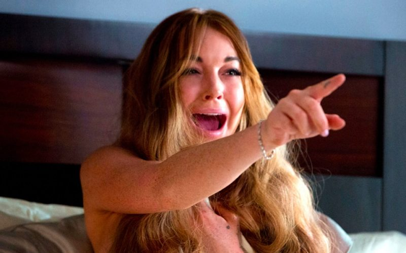 lindsay lohan, scary movie 5, crazy, hysterical, pointing finger, insane