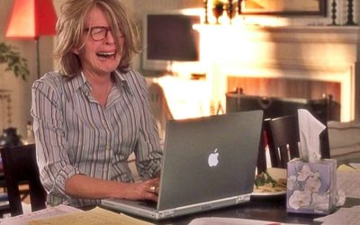 diane keaton, something's got to give, computer, crying, stress, anxiety, over-relate, hard relate, sensitive