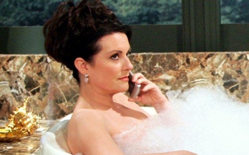 karen walker, will and grace, bath, phone, answer phone calls, phone call