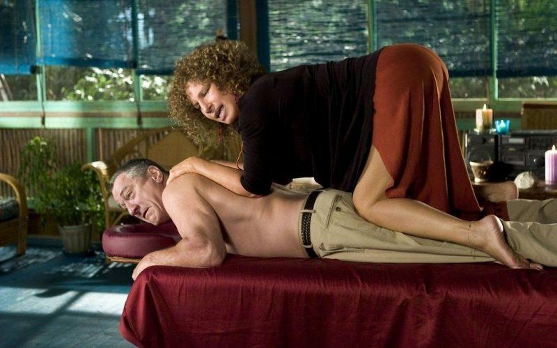 meet the fockers, barbra streisand, robert de niro, back massage, massage, therapy