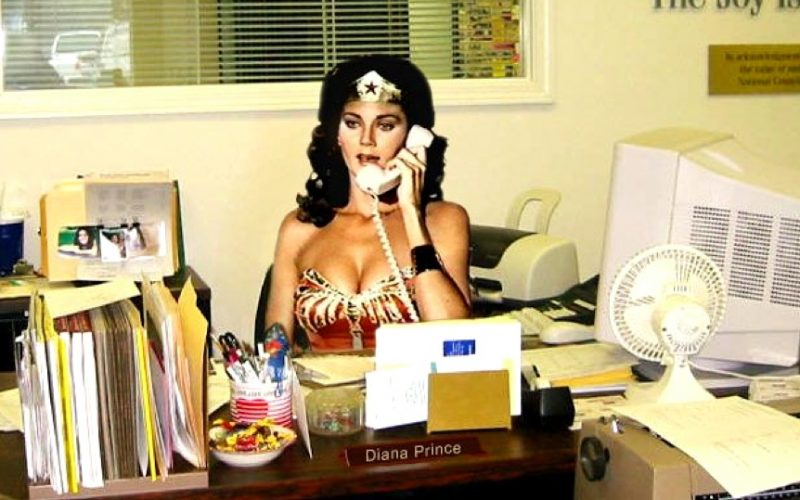 wonder woman, working, desk, office job, new day, day begins, beginning, busy, morning madness, manic