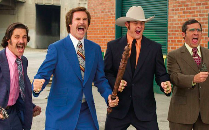 anchorman, will ferrell, steve carell, paul rudd, roar, cheer, shout, confuse, convince, crazy