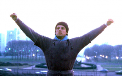 rocky, running, hooray, arms up, sylvester stalone