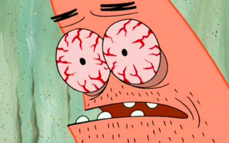 patrick star, spongebob squarepants, tired, exhausted, insomnia, bloodshot eyes