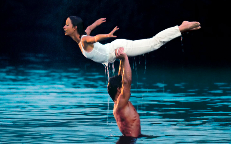 dirty dancing, dance lift, water, iconic scene