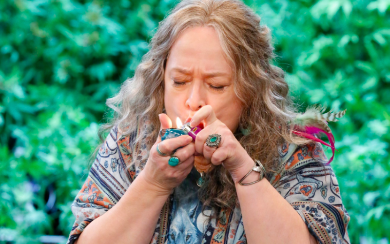 disjointed, smoking joint, cannabis, weed, cbd oil, kathy bates
