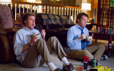 stepbrothers, watching tv, television, secret tv behaviour, will ferrell, john c reilly, eating, snacking