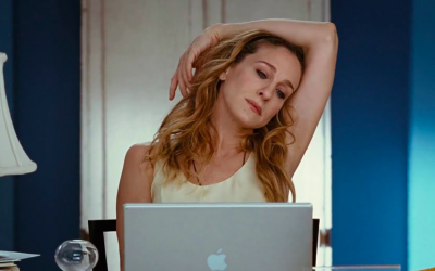 sex and the city, carrie bradshaw, sarah jessica parker, laptop, computer, exasperated, annoyed