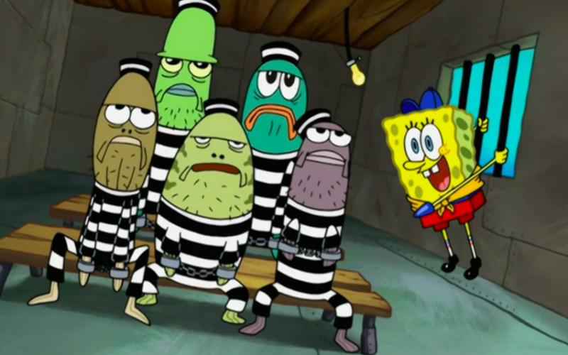 spongebob squarepants, prison, criminal, jail, illegal activities