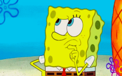 spongebob squarepants, thinking, stroking chin, hmmm, pondering