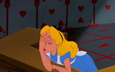 alice in wonderland, face palm, give up, face in hands