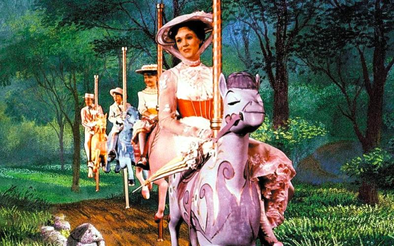 mary poppins, fairground rides, merry go round, fun, julie andrews