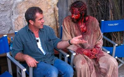 mel gibson, jim caviezel, bloody jesus, behind the scenes, injury, blood