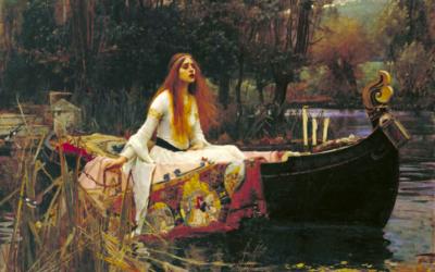 lady of shallot, john william waterhouse, painting, languishing